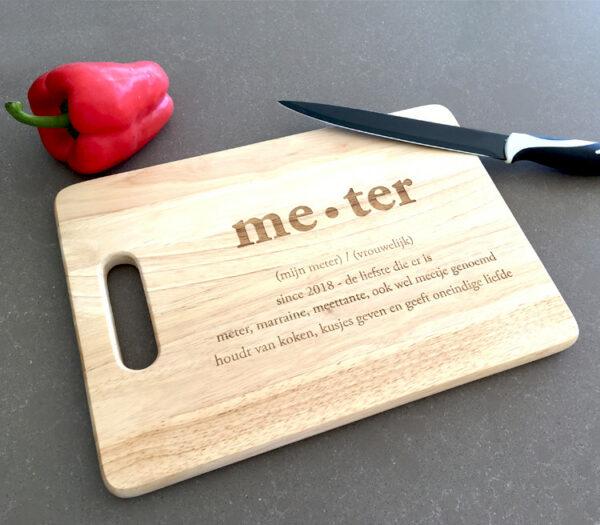 Snijplank graveren met naam - Meter vragen - Metercadeau - Meterkado