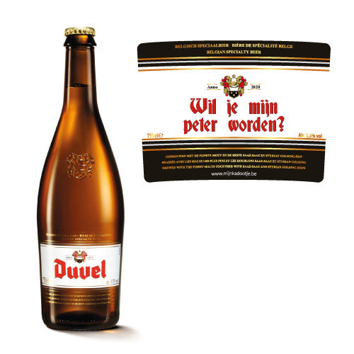 Gepersonaliseerd bier - Duvel 75cl sticker - bier personaliseren met naam - peter vragen duvel fles