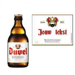 Duvel met naam sticker - bier personaliseren met naam