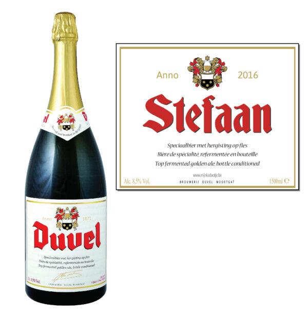 Gepersonaliseerd bier - Duvel magnum 1500ml sticker - bier personaliseren met naam - bier met naam