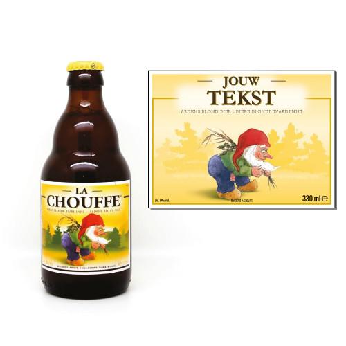 Gepersonaliseerd bier met La Chouffe sticker - bier personaliseren met naam