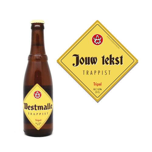 Gepersonaliseerd bier met Westmalle Tripel biersticker - bier personaliseren met naam