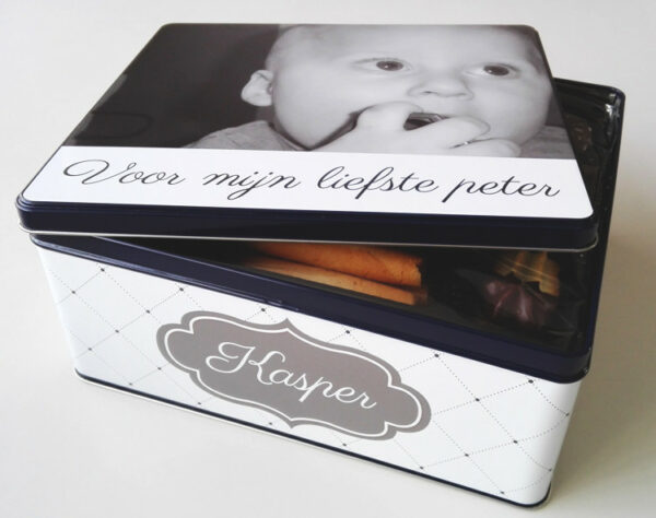 Gepersonaliseerde koekendoos met foto - origineel geschenk koekjesdoos met foto of tekst_Thema Classique Chique_2