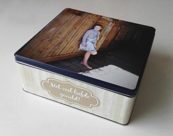 Gepersonaliseerde koekendoos met foto - origineel geschenk koekjesdoos met foto of tekst_Thema Steigerhout