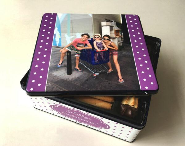 Koekendoos met foto - origineel geschenk koekjesdoos met foto of tekst_Thema bolletjes