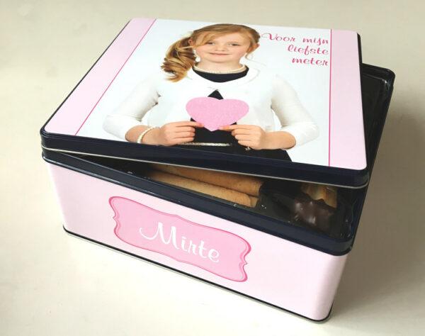 Gepersonaliseerde koekendoos met foto - origineel geschenk koekjesdoos met foto of tekst_Thema egaal