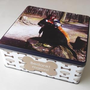 Gepersonaliseerde koekendoos met foto - origineel geschenk koekjesdoos met foto of tekst_Thema huisdieren