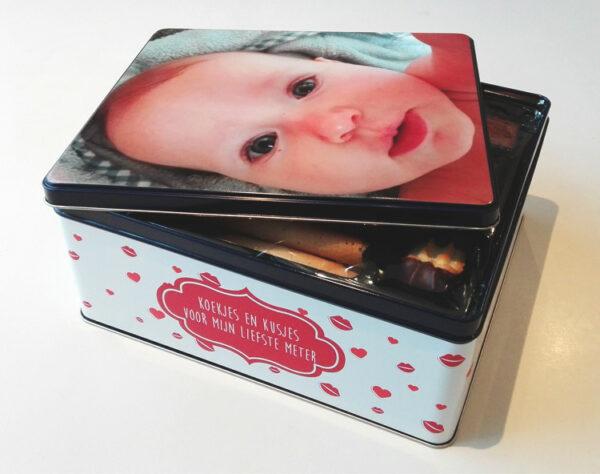 Gepersonaliseerde koekendoos met foto - origineel geschenk koekjesdoos met foto of tekst_Thema kusjes