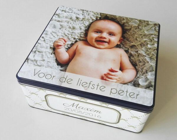 Gepersonaliseerde koekendoos met foto - origineel geschenk koekjesdoos met foto of tekst_Thema snorretjes