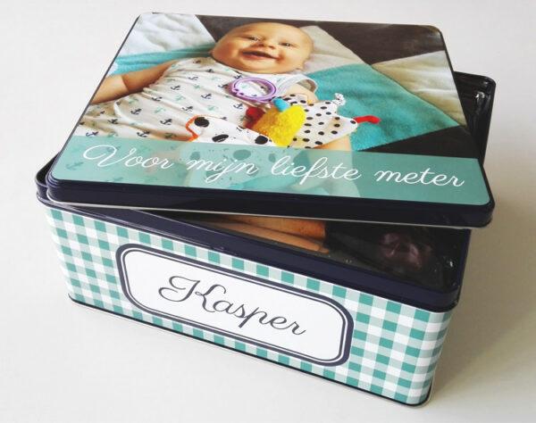 Gepersonaliseerde koekendoos met foto - origineel geschenk koekjesdoos met foto of tekst_Thema vichy