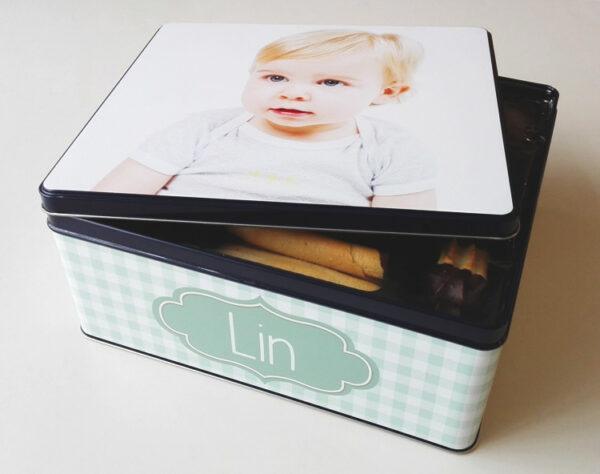 Gepersonaliseerde koekendoos met foto - origineel geschenk koekjesdoos met foto of tekst_Thema vichy_2