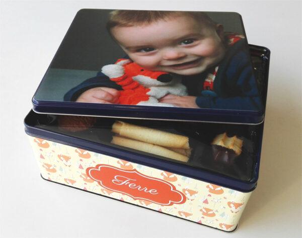 Gepersonaliseerde koekendoos met foto - origineel geschenk koekjesdoos met foto of tekst_Thema vosjes