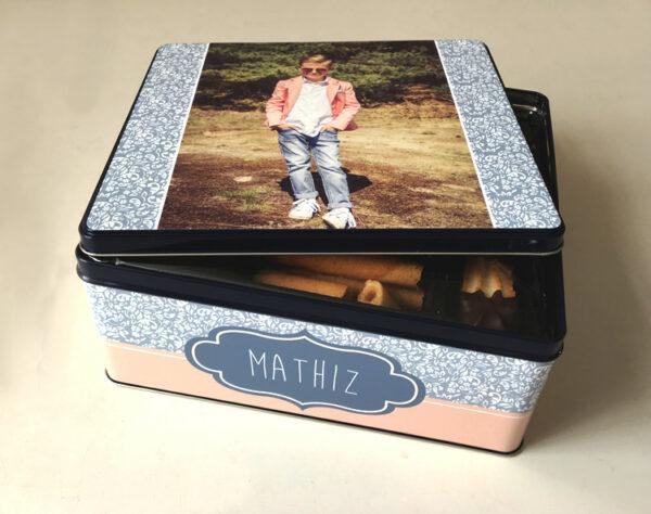 Gepersonaliseerde koekjesdoos met foto - origineel geschenk - koekendoos met foto of tekst_Thema retro