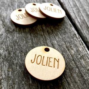 Naamlabel hout - Houten label met naam - Houten naamlabel als originele doopsuiker - doopsuiker zelf maken