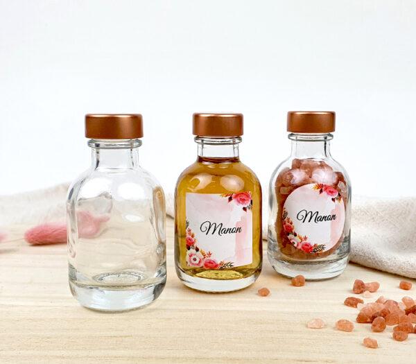 Originele doopsuiker - Glazen flesje met naam - Luxe drankflesje met naam koper dop