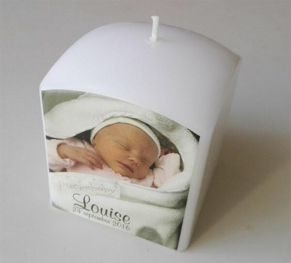 Doopkaars met foto - bedrukte kaarsen voor geboorte_Louise