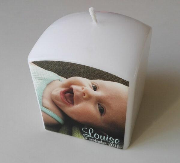 Doopkaars met foto - bedrukte kaarsen voor geboorte_Louise2