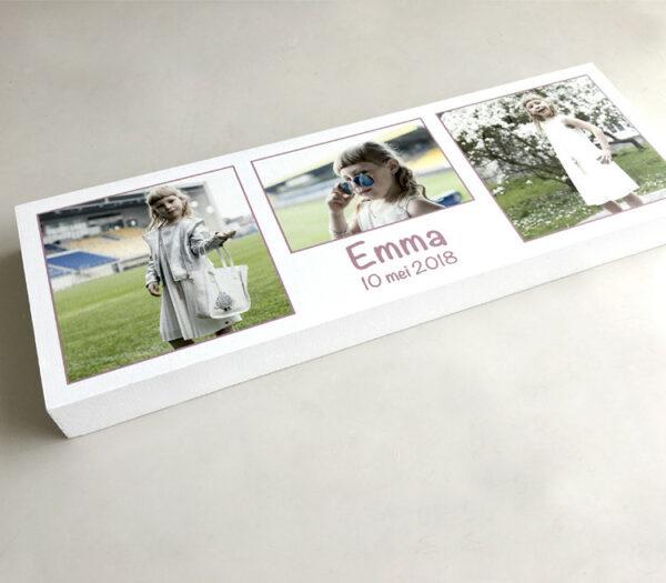 Houtblok met foto als communie aandenken - aandenken communie - aandenken lentefeest - houtblok met foto
