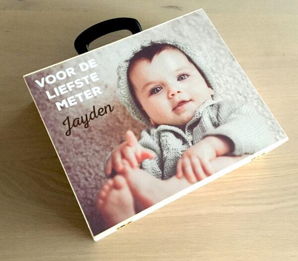 Houten koffer met foto - Origineel geschenk meter - Origineel geschenk peter - Kinderkoffer met foto