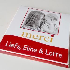 Merci met foto - Merci chocolade cadeau - Merci doosje met foto en tekst