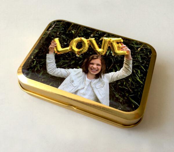Muntdoosje of snoepdoosje met foto als origineel communiebedankje - goud