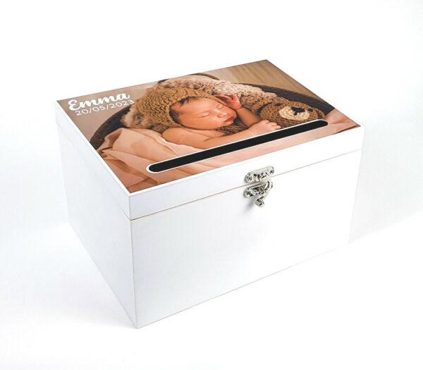 Enveloppendoos met foto - Origineel kraamcadeau - Decoratie babyborrel - Enveloppendoos met naam