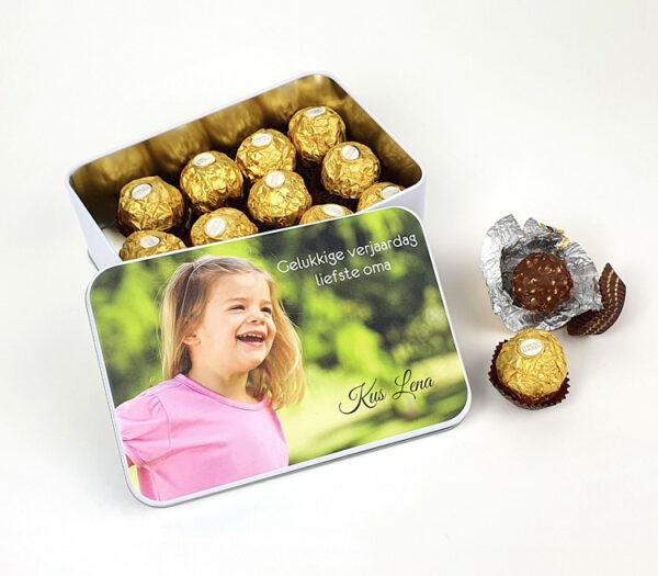 Origineel fotocadea - Blikken doos met foto - Snoepcadeau met foto bij snoeponline