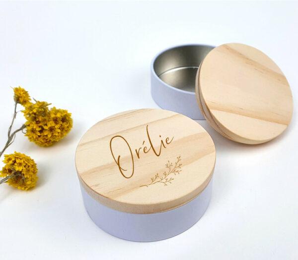 Snoepdoosje met houten deksel - origineel bedankje - originele doopsuiker