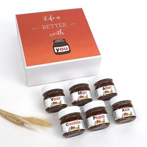 Cadeau voor papa - Origineel cadeau vaderdag - Nutella met naam geschenkdoos
