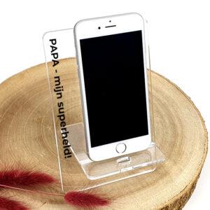 Origineel vaderdagcadeau - Smartphone houder met tekst - Hip cadeau voor papa