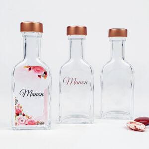 Glazen flesjes doopsuiker - Drankflesje doopsuiker met koper dopje